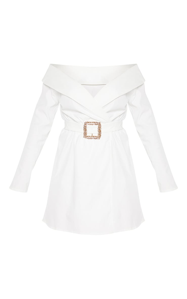 White Bardot Belt Detail Shift Dress 3