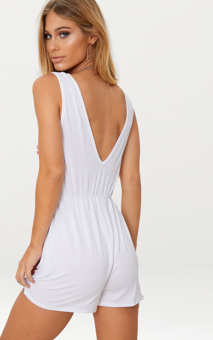 White Chicago Sleeveless Slouch Playsuit 2