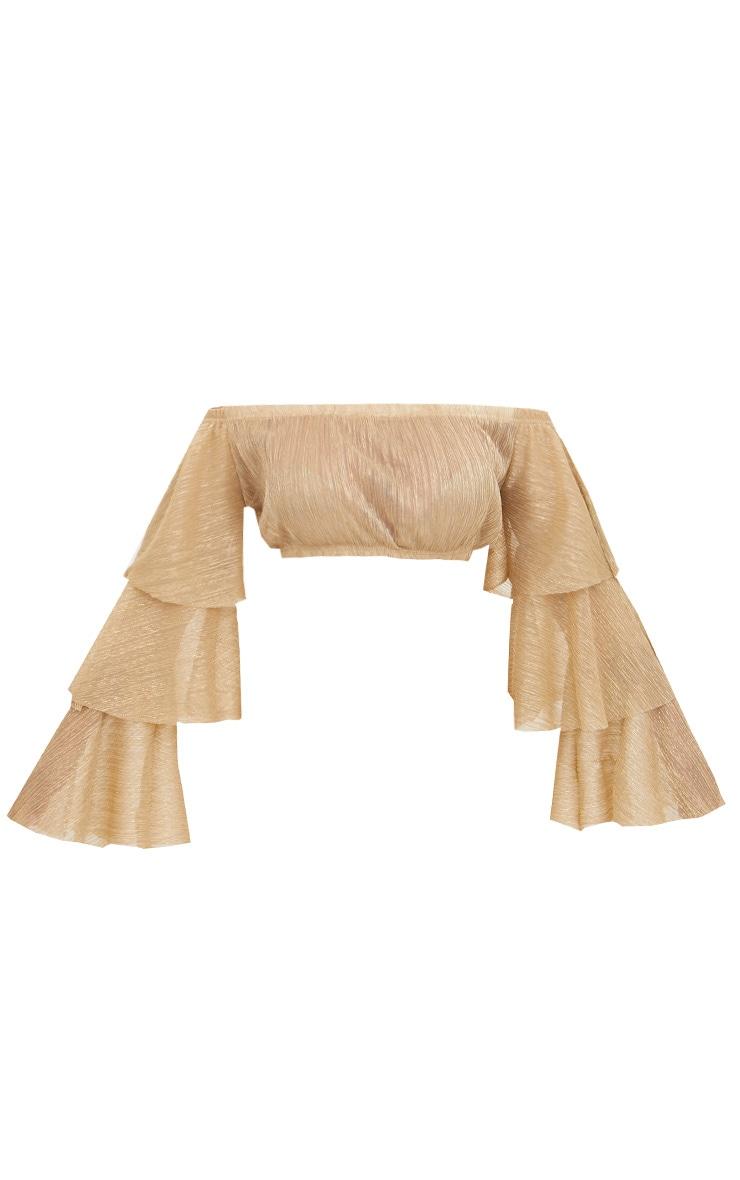 Gold Metallic Bardot Frill Sleeve Crop Top 3