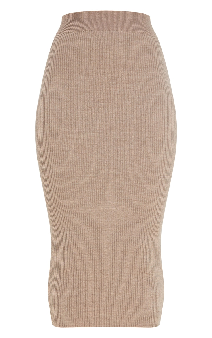 Mocha Ribbed Knitted Midaxi Skirt 5