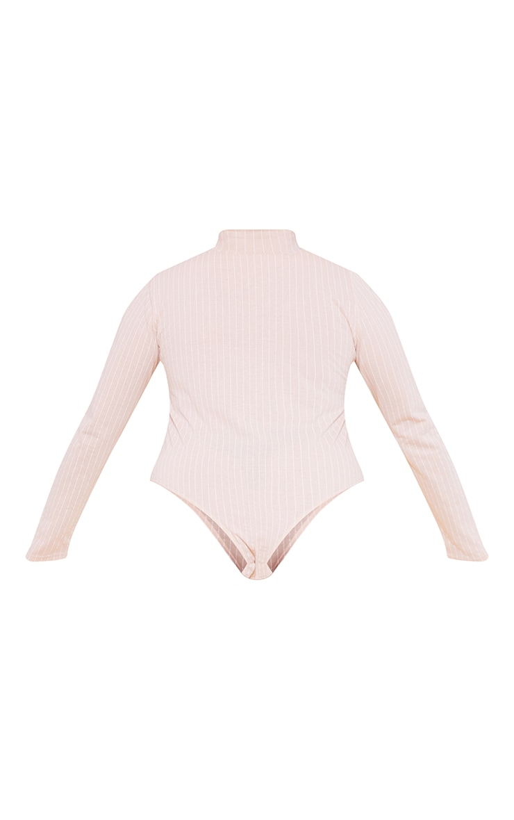 RECYCLED Plus Deep Nude Pinstripe Roll Neck Long Sleeve Bodysuit 4