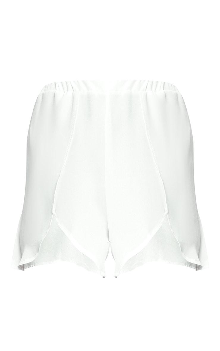 White Sheer Front Wrap Beach Shorts 3