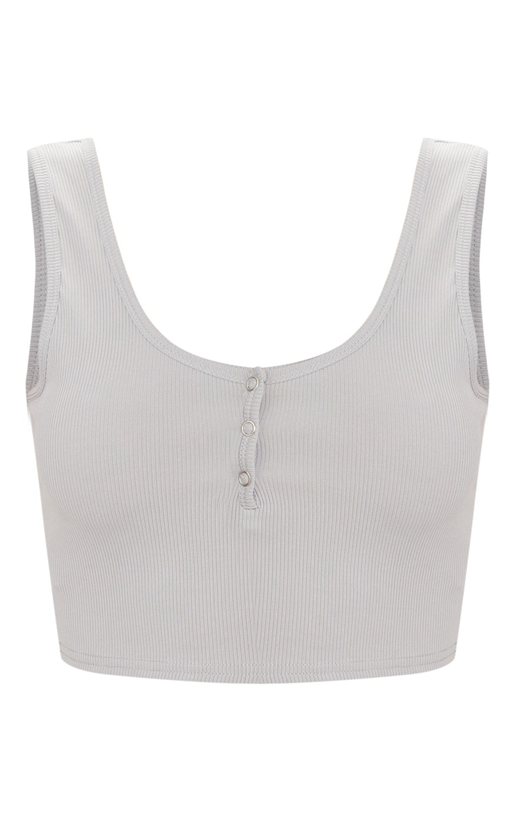 Grey Popper Front Rib Scoop Neck Crop Top 3