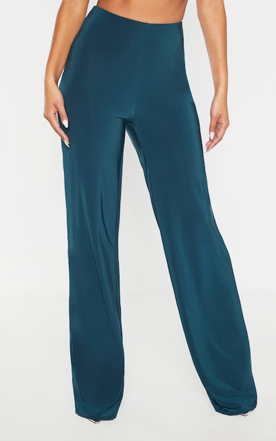 Petrol Blue Slinky Wide Leg Trouser