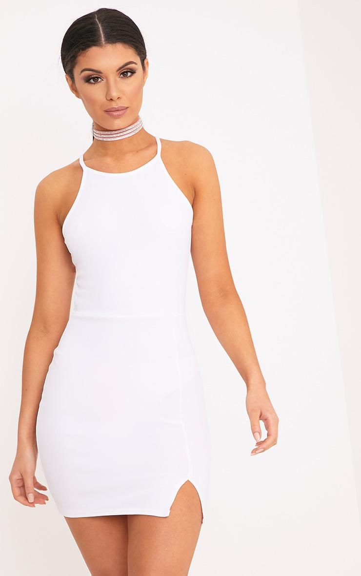 Aniqah White High Neck Split Detail Bodycon Dress 1