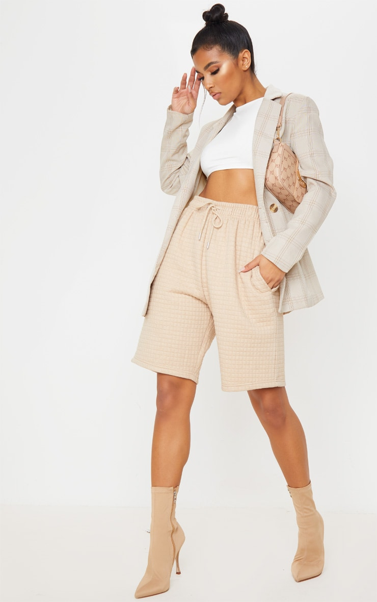 Stone Quilted Longline Sweat Short