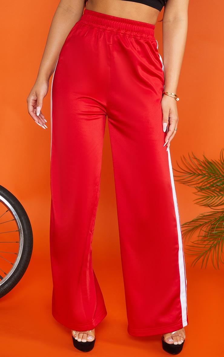 Petite Red Sports Stripe Wide Leg Joggers 3
