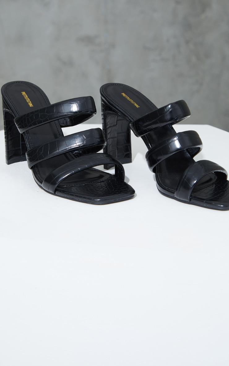 Black PU Croc Triple Strap Flat Heeled Mules 3