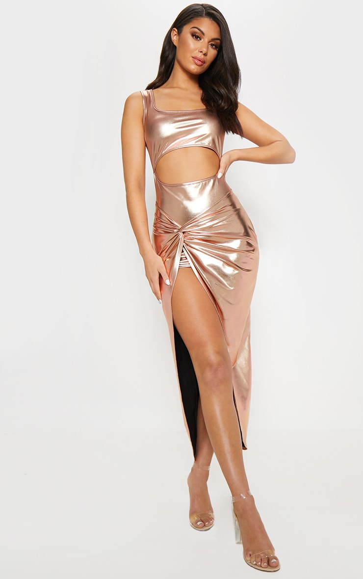 Rose Gold Cut Out Knot Detail Midi Dress 1