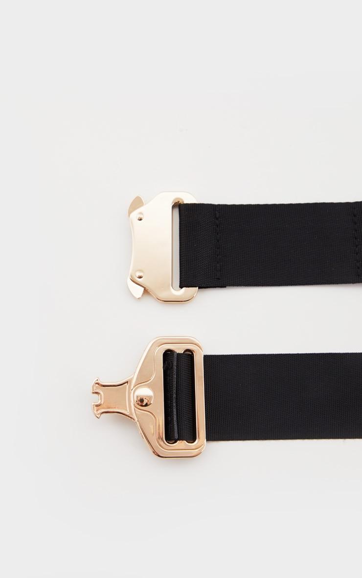 Black Ribbon Ring Detail Gold Buckle Tape Belt 3