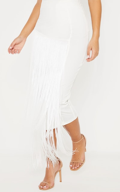White Fringe Detail Tiered Midaxi Skirt
