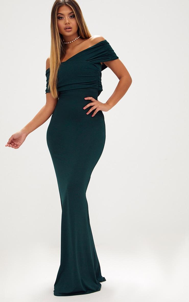 Emerald Green Slinky Wrap Bardot Maxi Dress 1