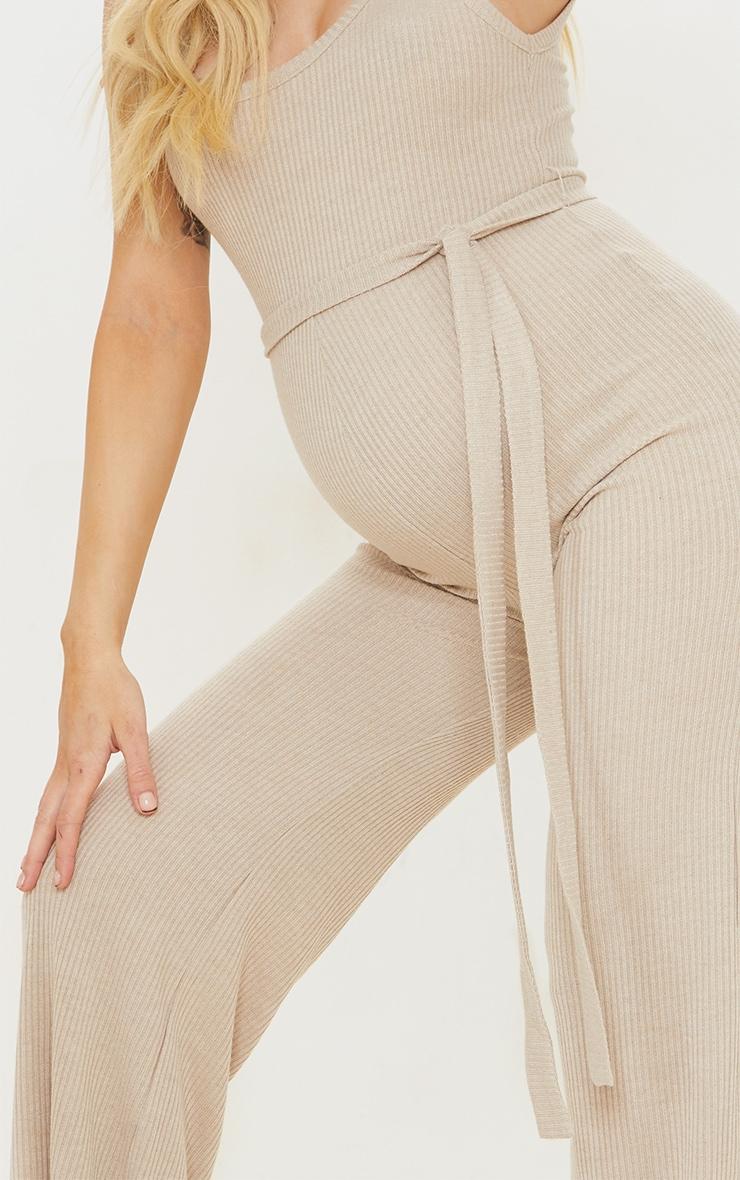 PLT Maternité - Combinaison avoine côtelée à taille nouée 4