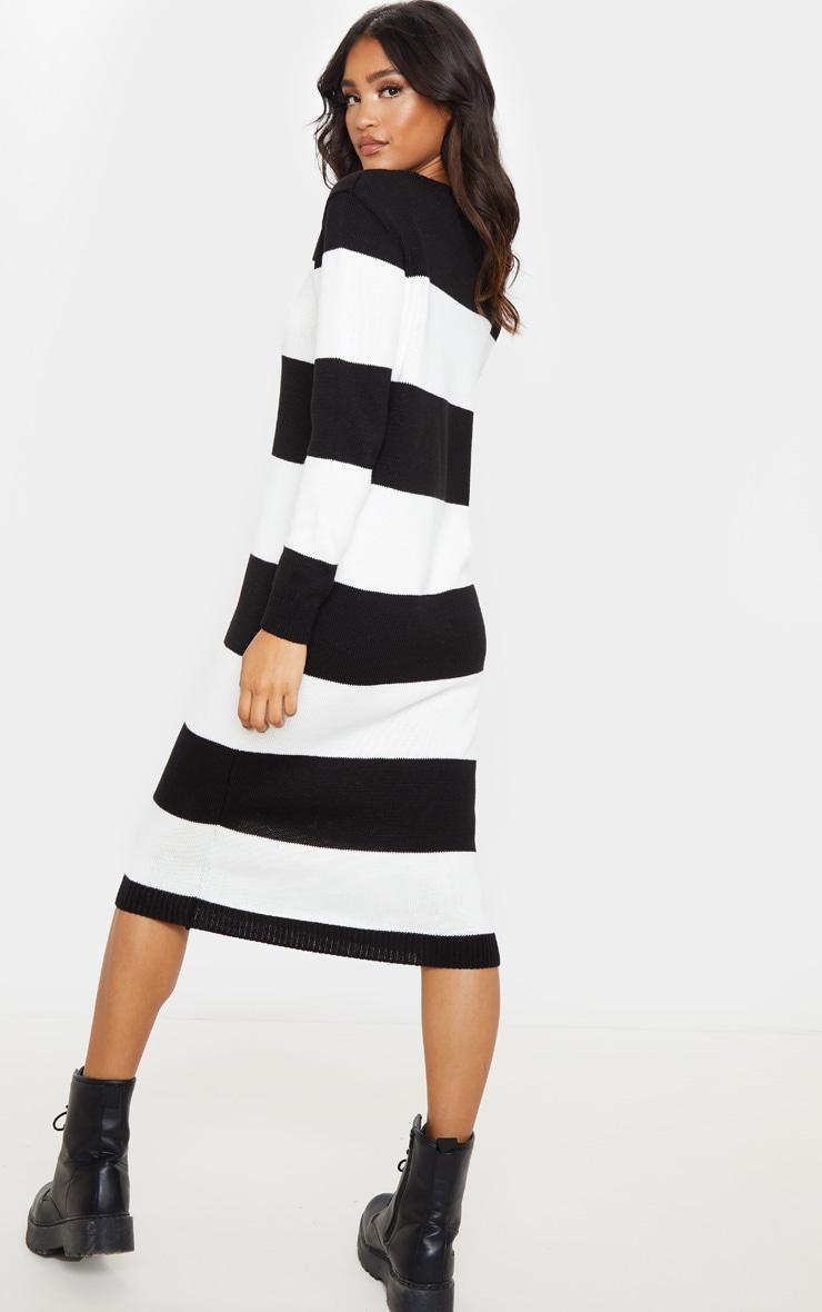 Monochrome Soft Knit Stripe Midi Dress 2