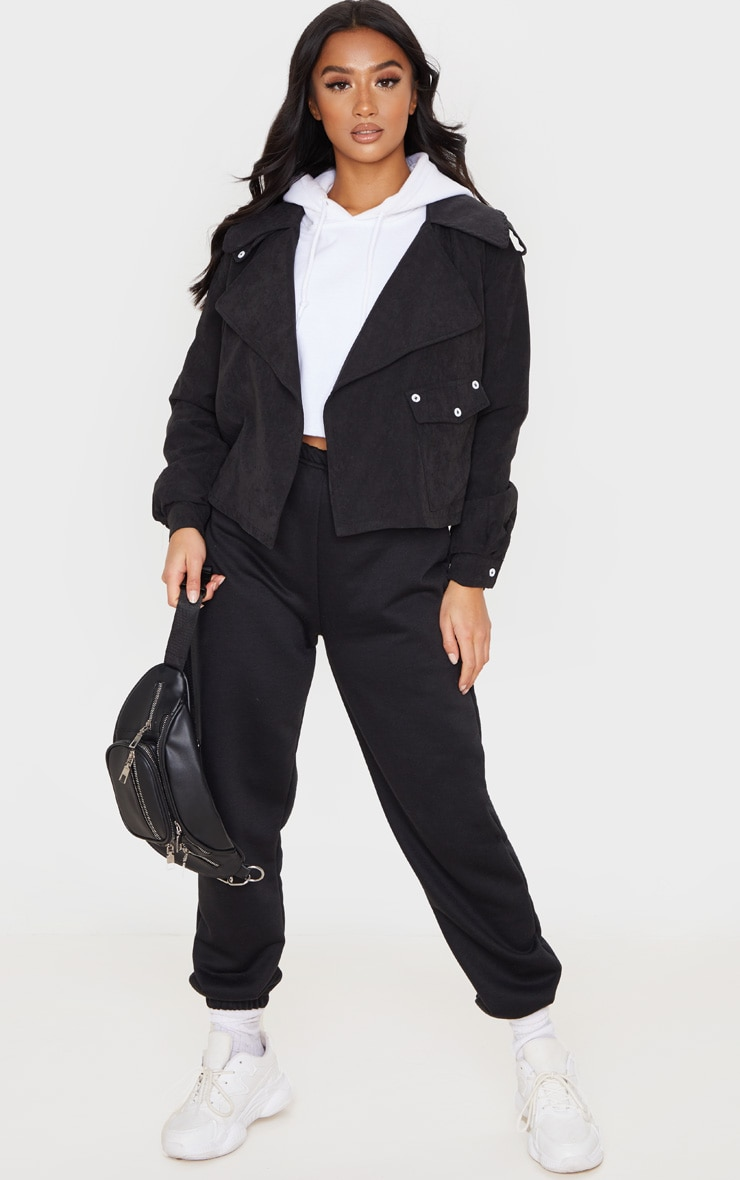 Petite Black Cropped Trench Coat 1