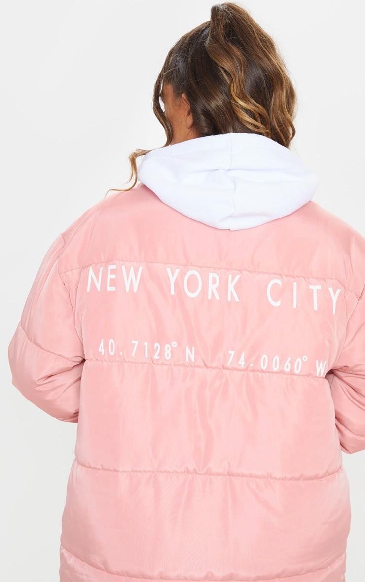 Peach Slogan Midi Oversized Puffer Coat 5