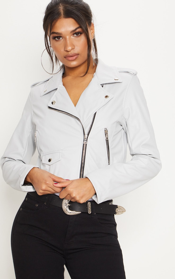 Grey PU Biker Jacket With Zips