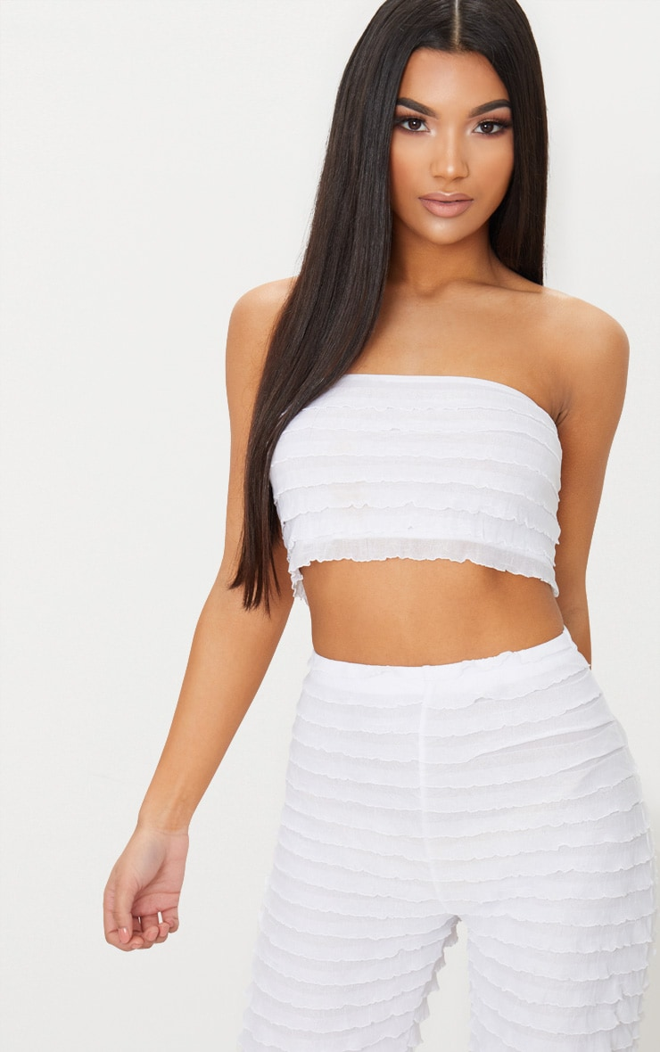 White Frill Bandeau Top 1