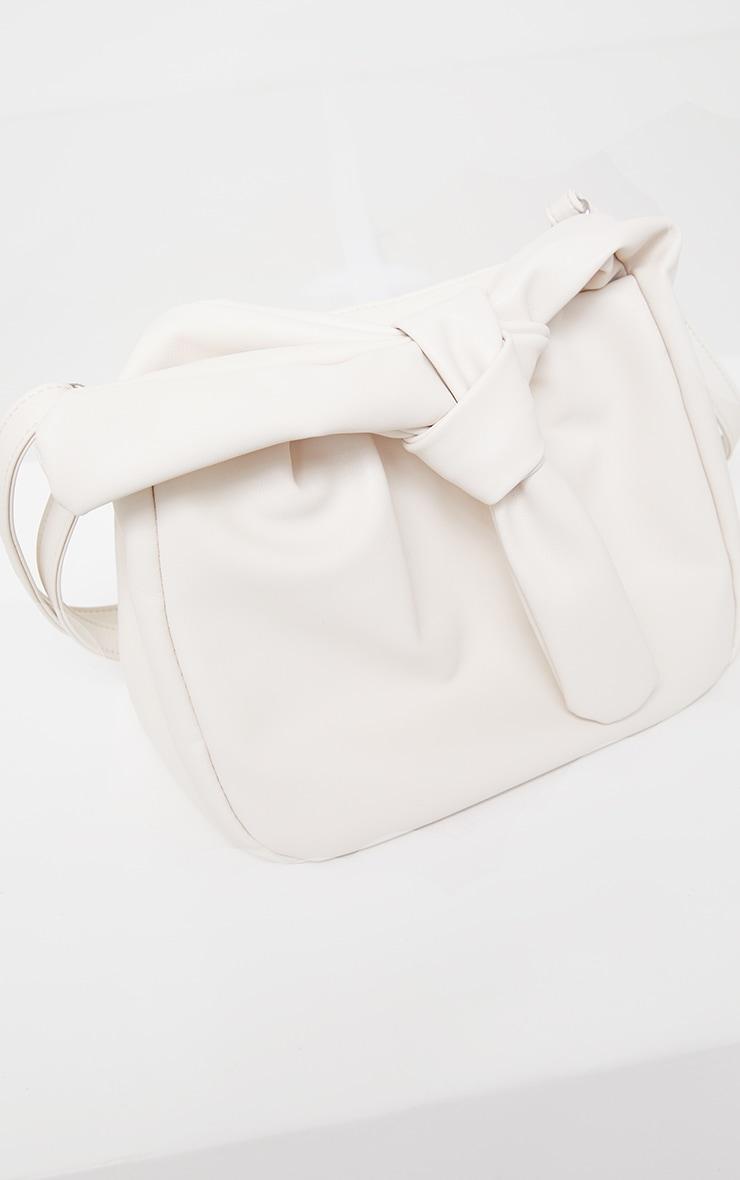 Cream Oversized Knot Crossbody Bag 2