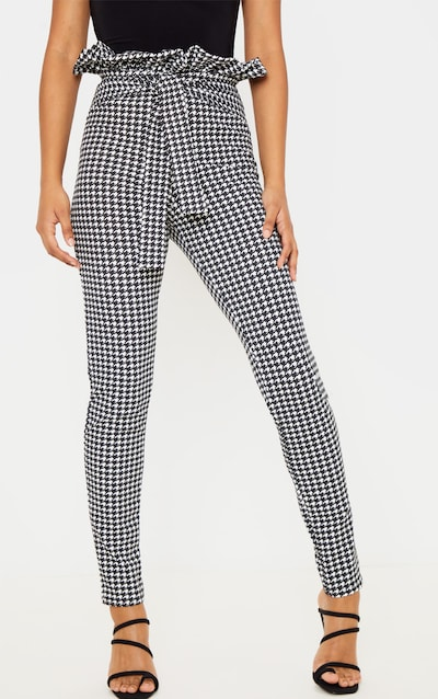 Black Dogtooth Paper bag Skinny Trousers