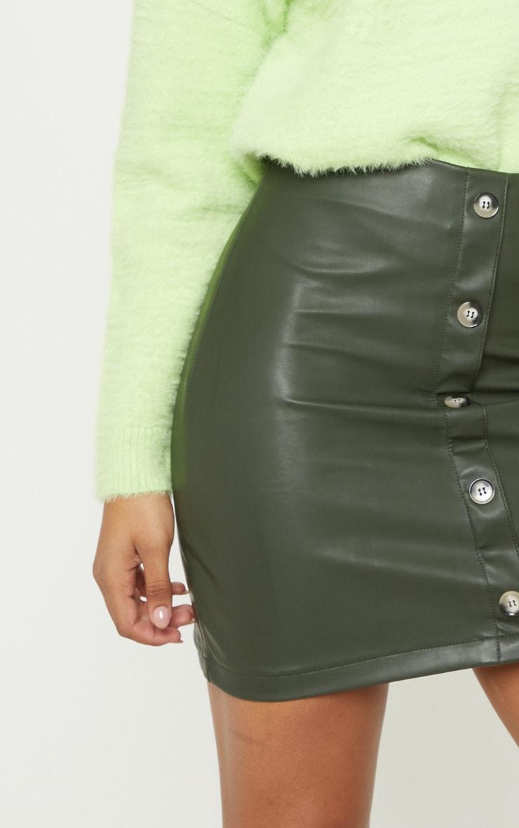 Tall Khaki  Faux Leather Button Detail Bodycon Skirt 6