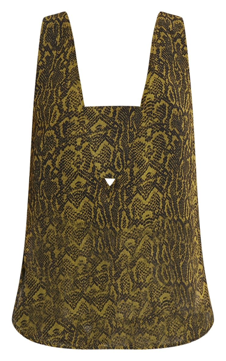 Claire Green Snakeskin V Back Woven Top 3