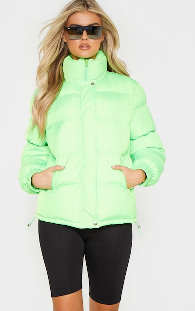f38ecf5ed473 Tall Neon Lime Shell Puffer Jacket PrettyLittleThing Sticker