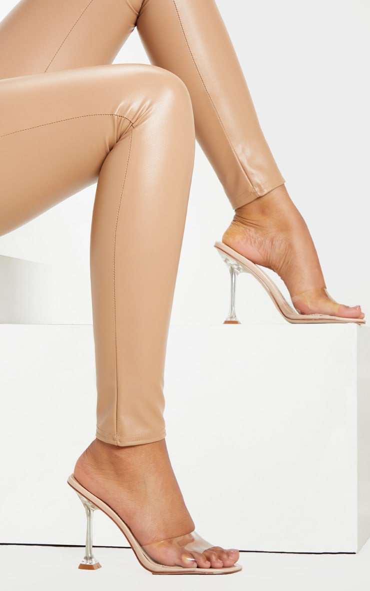 Nude Clear Heel Mule Sandals 2