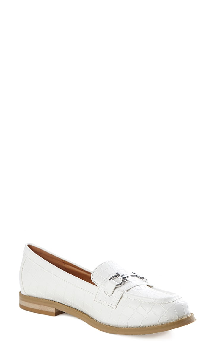 Milan Cream Croc Silver Bar Loafers 5