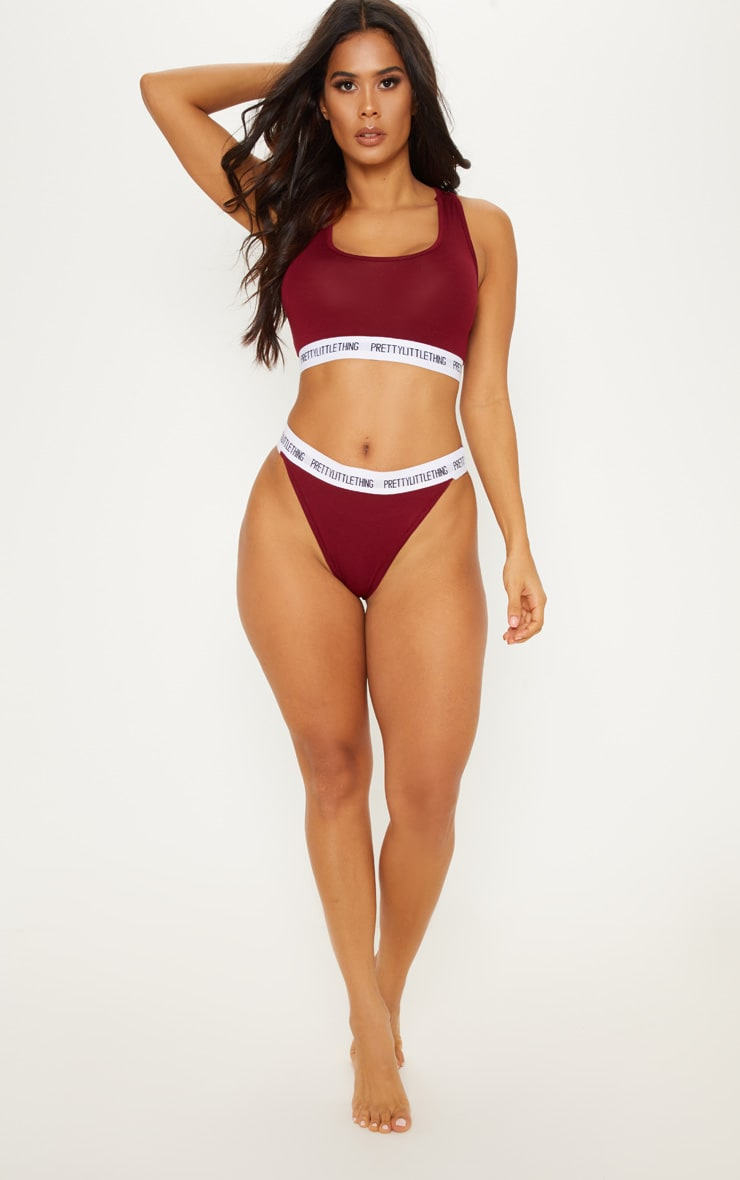 PRETTYLITTLETHING Maroon High Rise Knickers 5