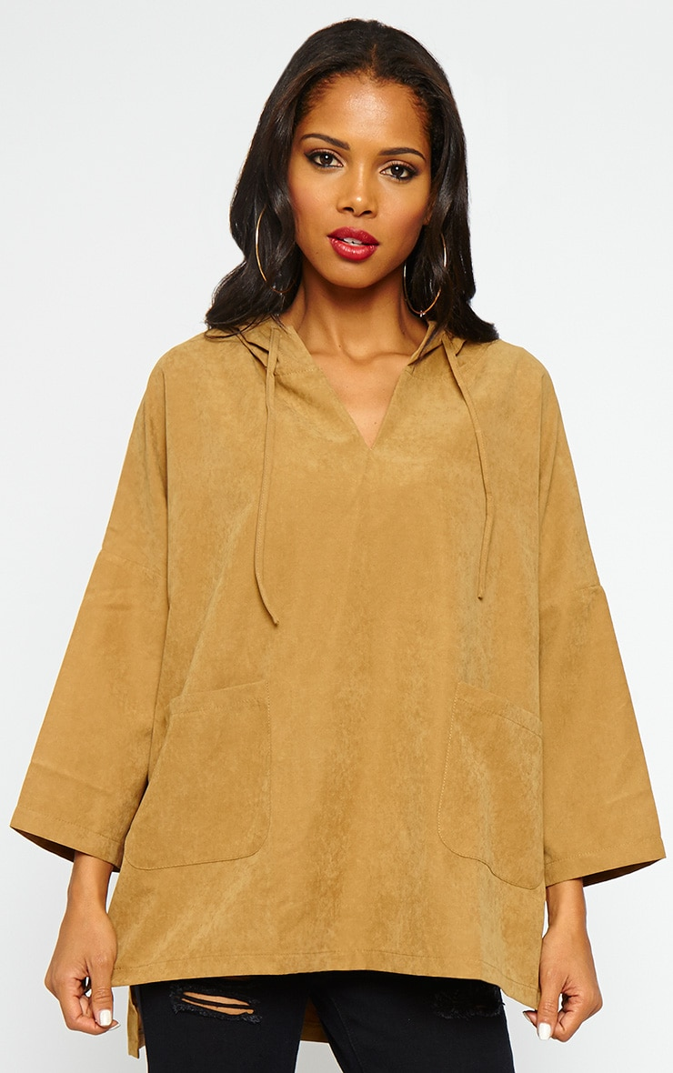 Laina Camel Hooded Jacket 1