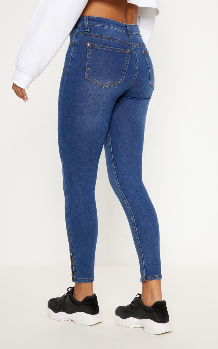 Mid Blue Wash High Waisted 5 Pocket Skinny Jean   5