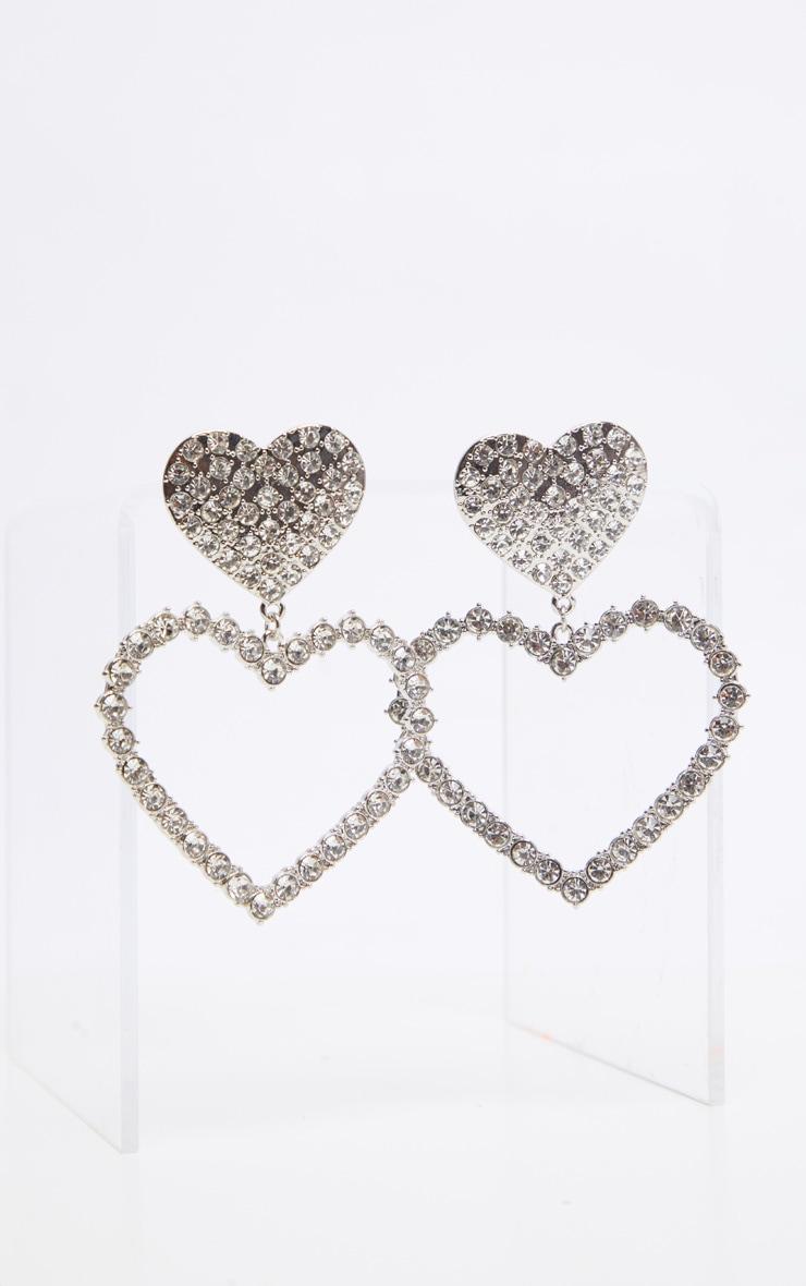 Silver Oversized Diamante Heart Earrings 2
