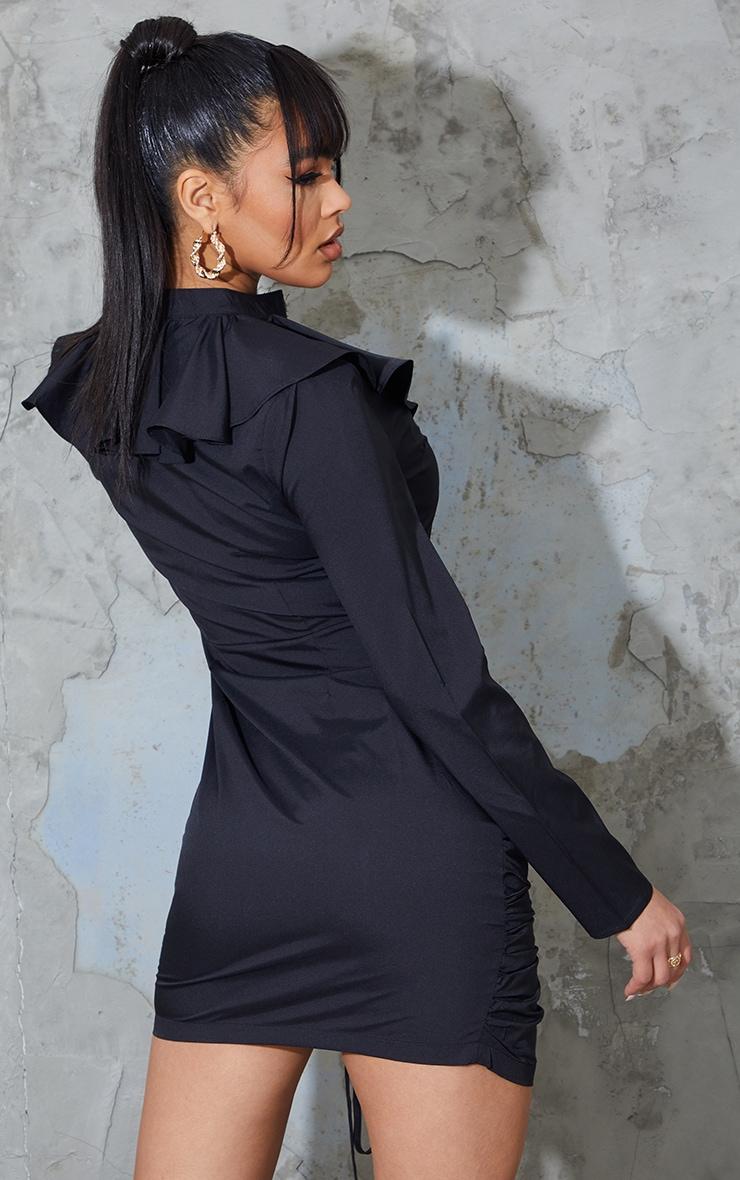 Black Neck Frill Detail Ruched Skirt Shirt Dress 2