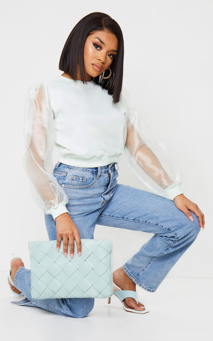 Petite Mint Organza Sleeve Sweater 3