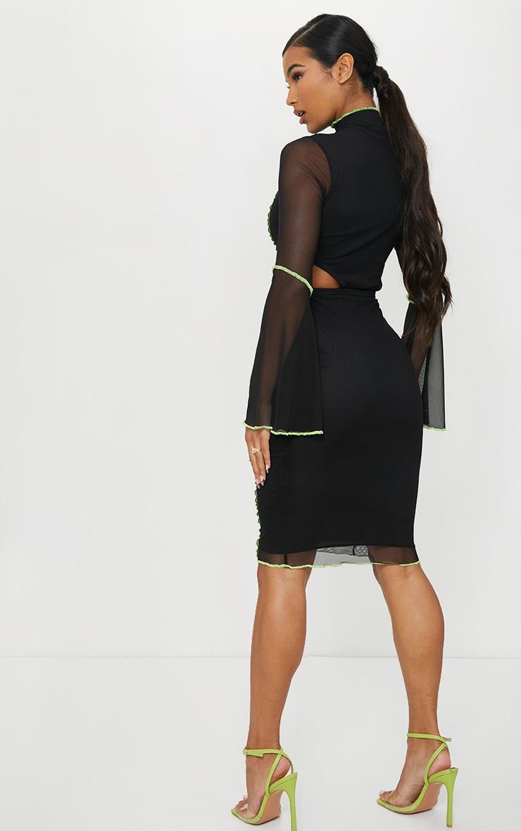 Black Mesh Stitch Detail Cut Out Flare Sleeve Midi Dress 2