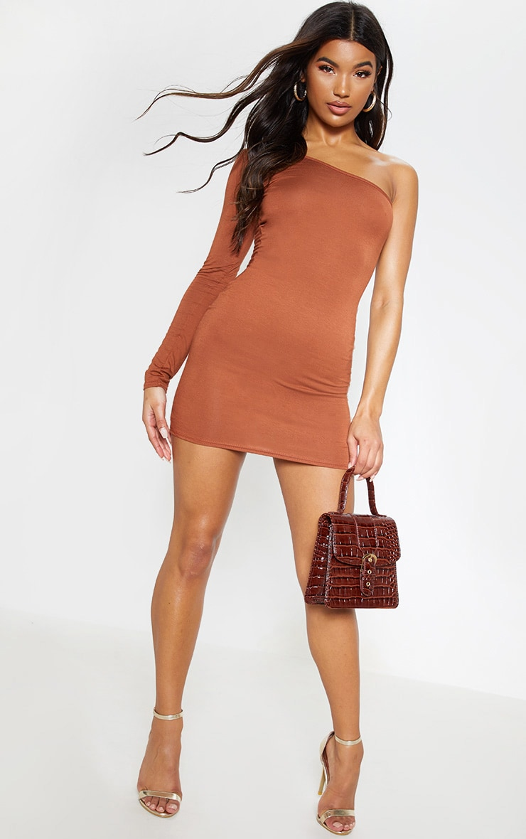 Tan One Shoulder Long Sleeve Bodycon Dress  1