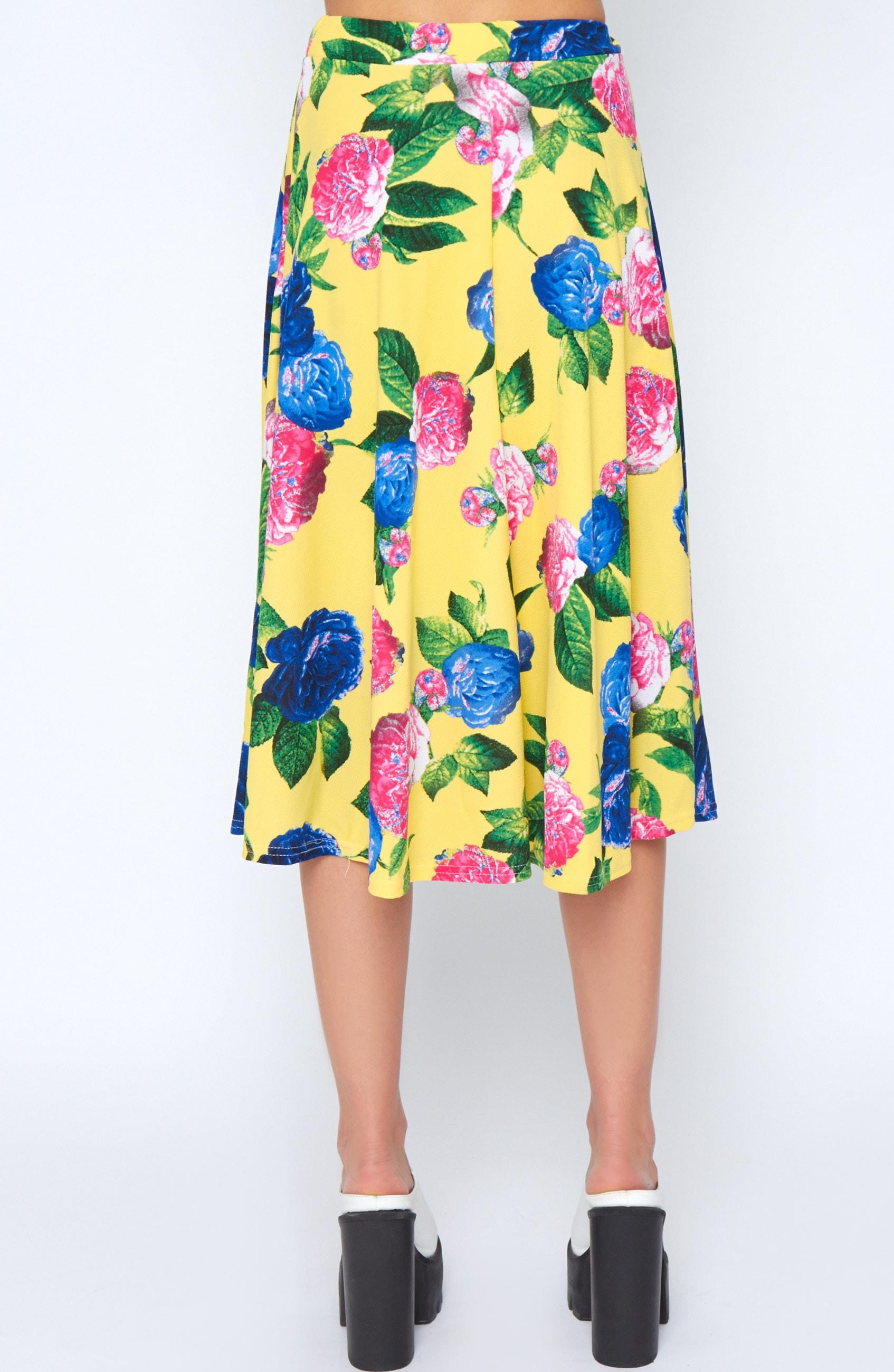 Kiera Yellow Floral Print Midi Skirt 2