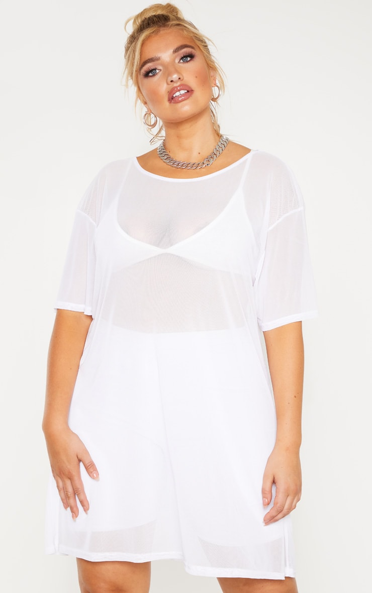 Plus White Sheer Mesh Oversized T Shirt Dress  1