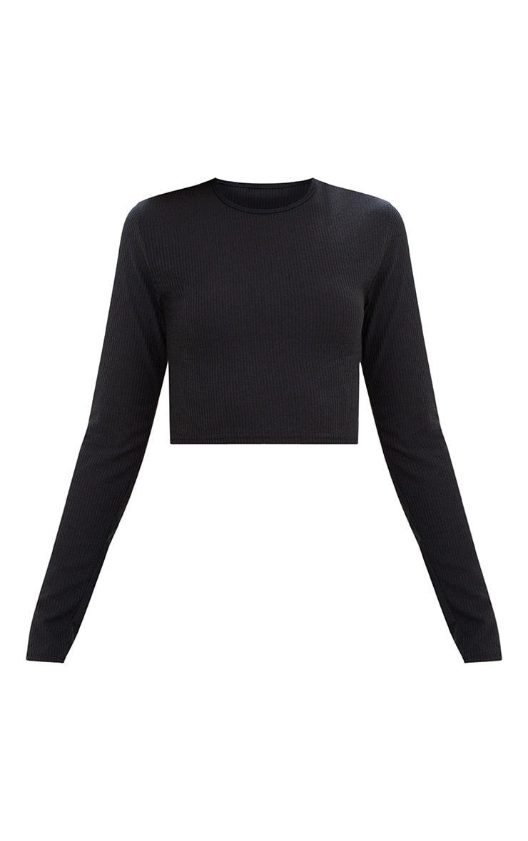 Black Ribbed Long Sleeve Crop Top 3