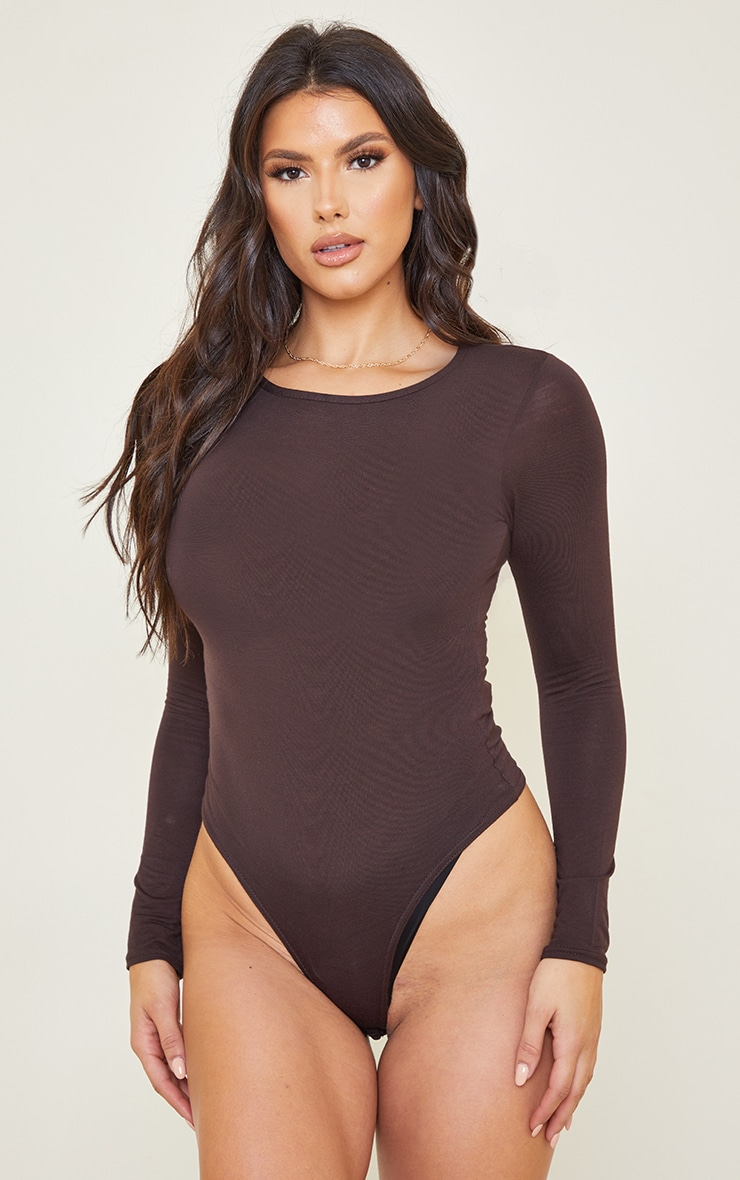 Tall Chocolate Brown Crew Neck Long Sleeve Bodysuit 2