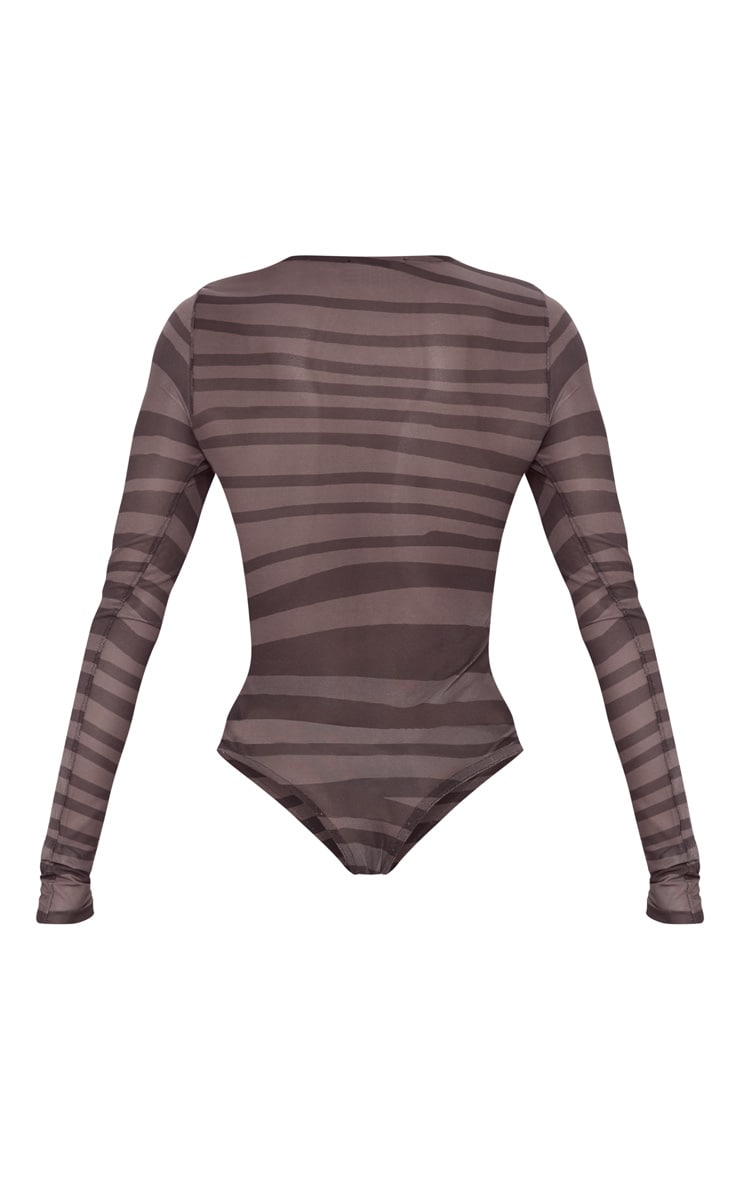 Brown Printed Mesh Long Sleeve Bodysuit 4