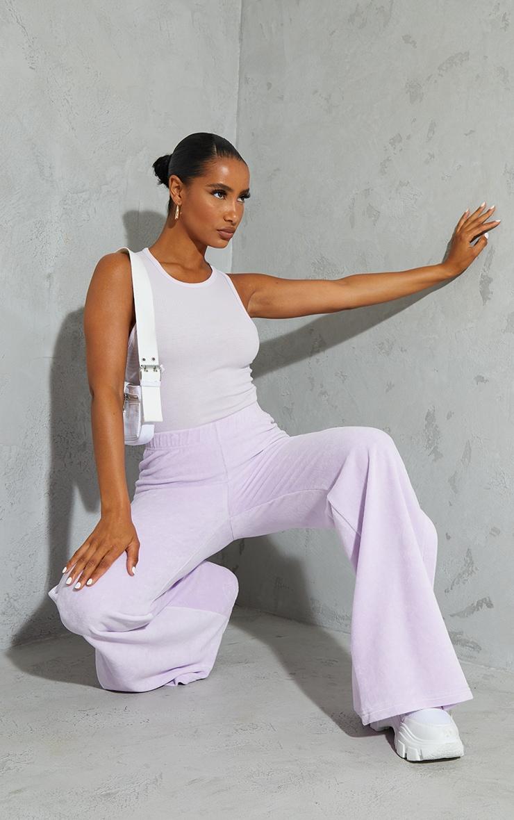Lilac Soft Rib Racer Neck Sleeveless Bodysuit 1