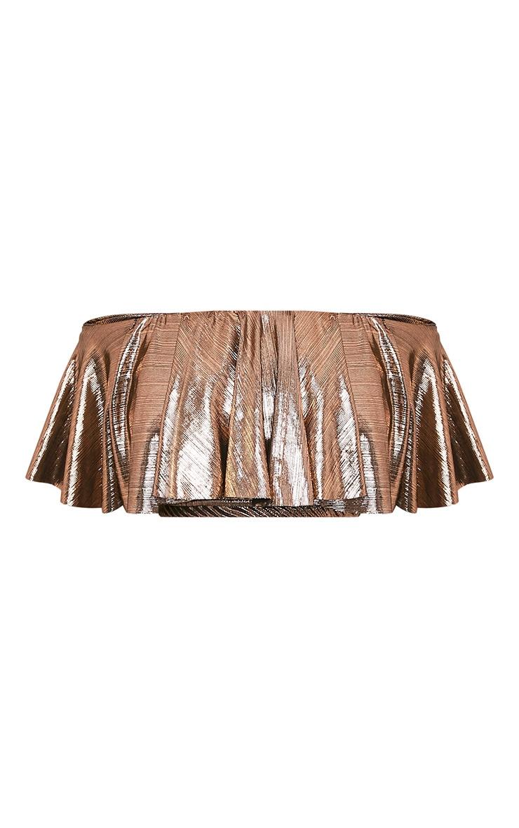 Tobie Copper Metallic Bardot Ruffle Crop Top 3