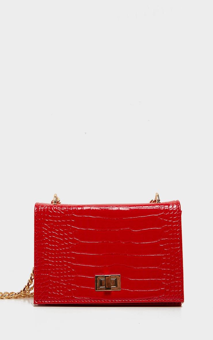 Red Patent Croc Flap Square Cross Body Bag 2