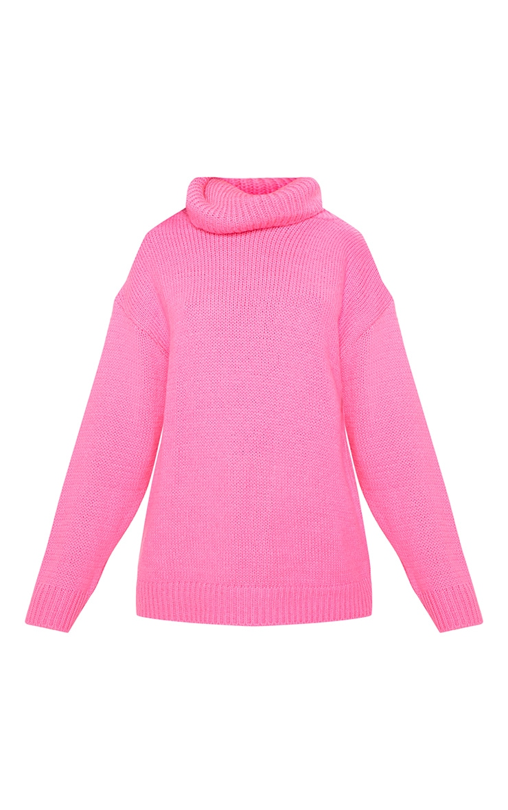 Hot Pink High Neck Fluffy Knit Sweater  3