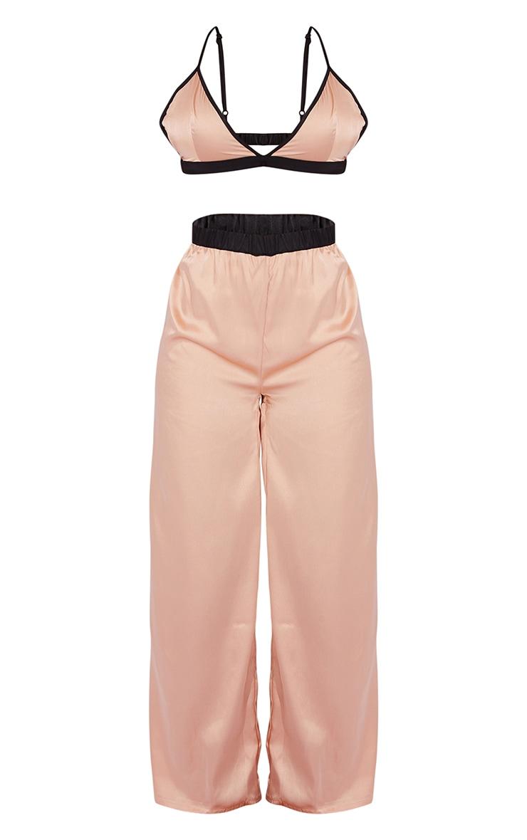 Rose Gold Satin Bralet And Wide Leg Trouser PJ Set 5