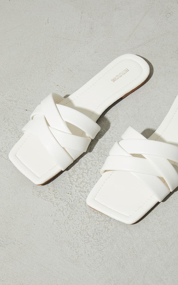 White PU Toe Basket Weave Mule Sandals 4