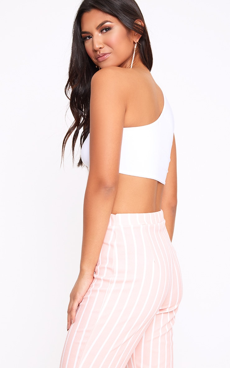 White Slinky Ruched Mesh Asymmetric Crop Top  2