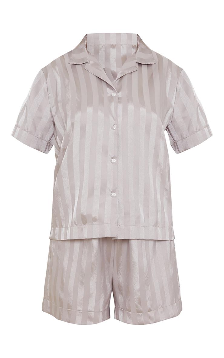 Grey Jacquard Stripe Satin Oversized Short Pj Set 5
